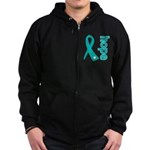 Hope Ovarian Cancer Zip Hoodie (dark)