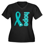 Hope Ovarian Cancer Women's Plus Size V-Neck Dark