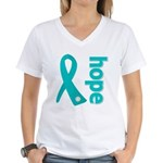 Hope Ovarian Cancer Women's V-Neck T-Shirt