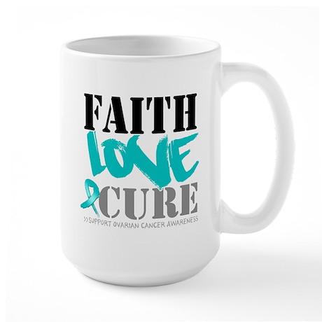 Faith Cure Ovarian Cancer Large Mug