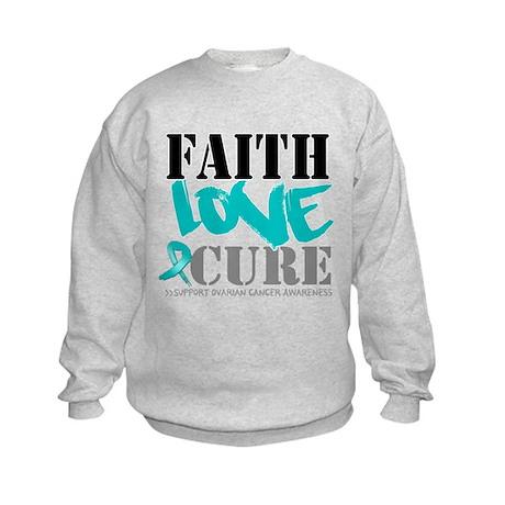 Faith Cure Ovarian Cancer Kids Sweatshirt