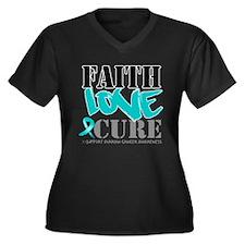 Faith Cure Ovarian Cancer Women's Plus Size V-Neck