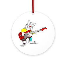 Catoons™ Bass Guitar Cat Ornament (Round)
