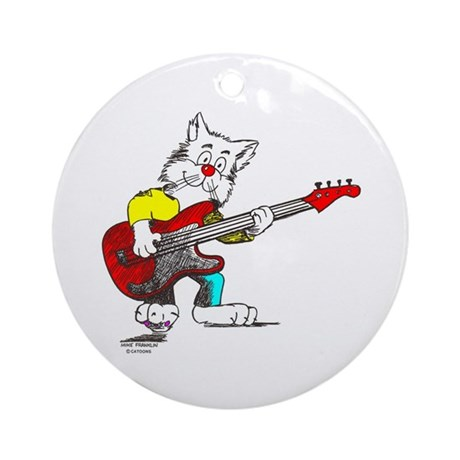 Catoons™ Bass Guitar Cat Ornament (Round)