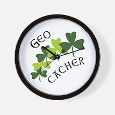 Geocacher Shamrocks Wall Clock