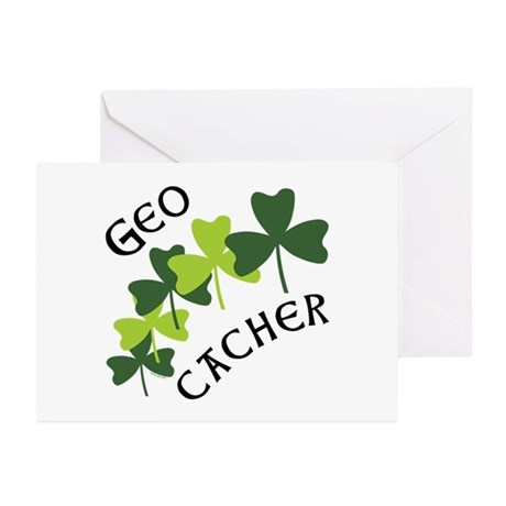 Geocacher Shamrocks Greeting Cards (Pk of 10)