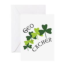 Geocacher Shamrocks Greeting Card