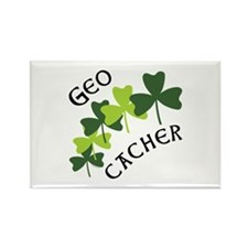 Geocacher Shamrocks Rectangle Magnet