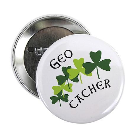 """Geocacher Shamrocks 2.25"""" Button (10 pack)"""