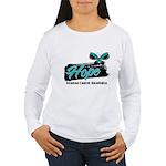 Hope Butterfly Ovarian Cancer Women's Long Sleeve
