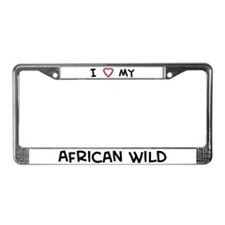 I Love African Wild License Plate Frame