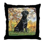 Spring & Black Lab Throw Pillow