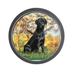 Spring & Black Lab Wall Clock