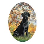 Spring & Black Lab Ornament (Oval)