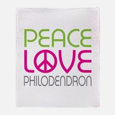 Peace Love Philodendron Throw Blanket