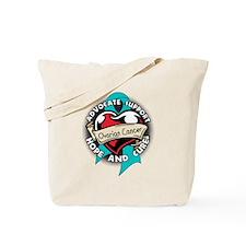 Ovarian Cancer Tattoo Ribbon Tote Bag