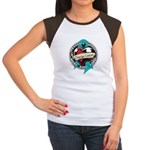 Ovarian Cancer Tattoo Ribbon Women's Cap Sleeve T-