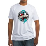 Ovarian Cancer Tattoo Ribbon Fitted T-Shirt