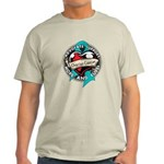 Ovarian Cancer Tattoo Ribbon Light T-Shirt