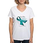 For My Hero Ovarian Cancer Women's V-Neck T-Shirt
