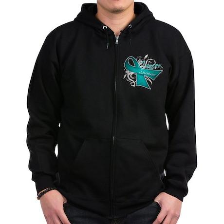 Ovarian Cancer Survivor Zip Hoodie (dark)