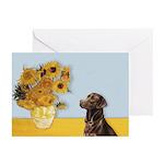 Sunflowers / Choc Lab 11 Greeting Cards (Pk of 10)