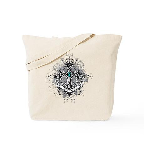 Faith Cross Ovarian Cancer Tote Bag