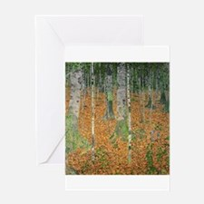The Birch Wood by Gustav Klimt Greeting Cards