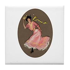 Ping Pong Girl Tile Coaster