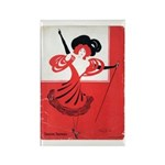 Girl In a Red Dress Rectangle Magnet