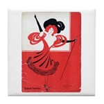 Girl In a Red Dress Tile Coaster
