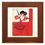 Girl In a Red Dress Framed Tile