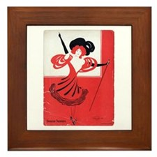 Girl In a Red Dress Framed Tile
