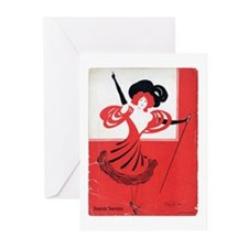 Girl In a Red Dress Greeting Cards (Pk of 10)