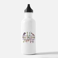 New Orleans Bead Design Water Bottle