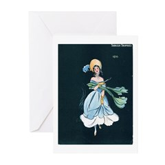 Girl in a Blue Dress Greeting Cards (Pk of 10)