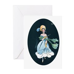 Girl in a Blue Dress Greeting Cards (Pk of 20)
