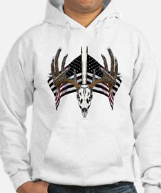 Whitetail skull on old glory Hoodie