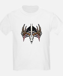 Whitetail skull on old glory T-Shirt