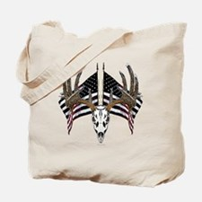 Whitetail skull on old glory Tote Bag