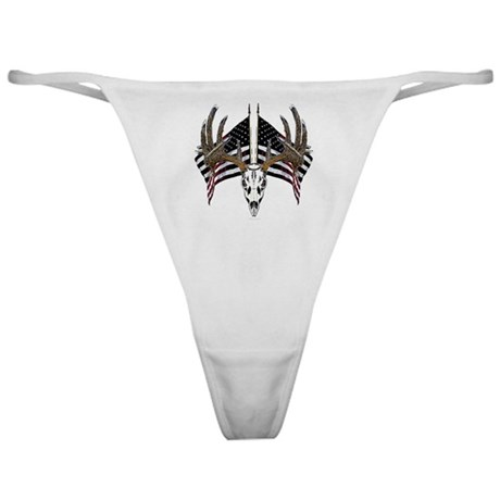 Whitetail skull on old glory Classic Thong