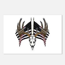 Whitetail skull on old glory Postcards (Package of
