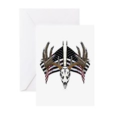 Whitetail skull on old glory Greeting Card