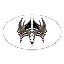 Whitetail skull on old glory Decal