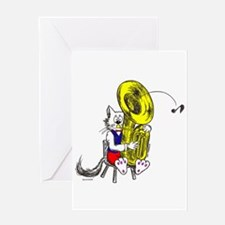Catoons™ Tuba Cat Greeting Card