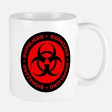 Red English-Spanish Biohazard Mug