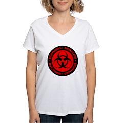 Red English-Spanish Biohazard Women's V-Neck T-Shi