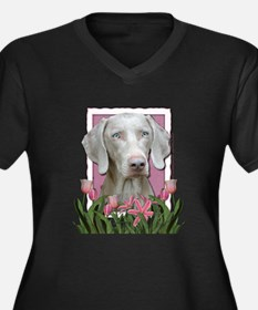 Mothers Day - Pink Tulips Women's Plus Size V-Neck