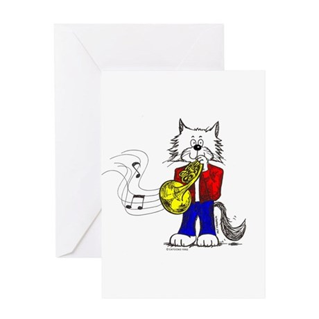 French Horn Cat Greeting Card