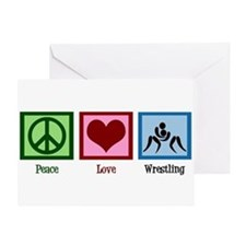 Peace Love Wrestling Greeting Card